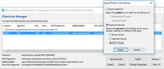 puttygen export ssh key